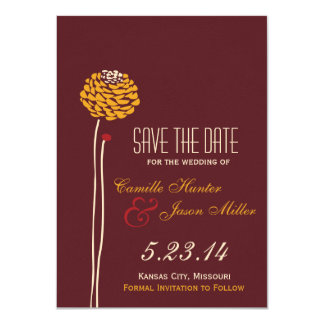 Simple Dahlia - Autumn Rustic Save the Date Card