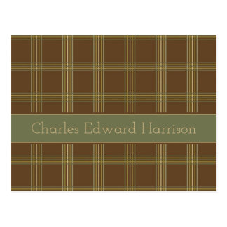 Simple Earth Plaid Personalized Postcard