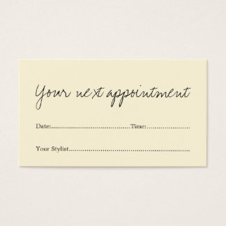 Simple Elegant Beauty Salon Appointment Card