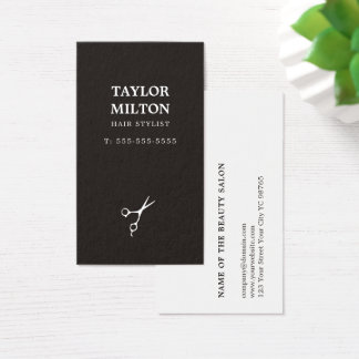 Simple Elegant Black and White Scissor Hairdresser Business Card