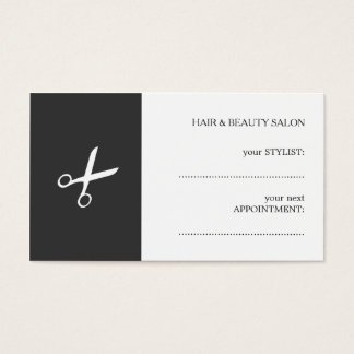 Simple Elegant Black White Beauty Appointment Card