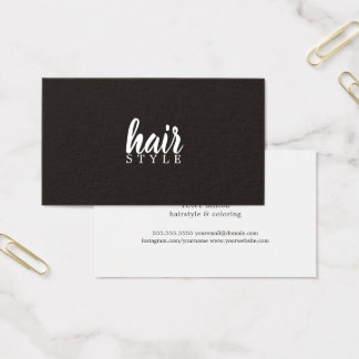 Simple Elegant Black White Hair Stylist Business Card