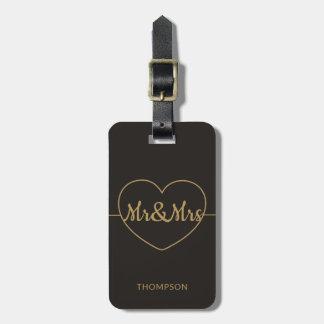 Simple Elegant Dark Faux Gold Mr&Mrs Luggage Tag