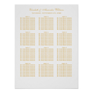 Simple Elegant Gold Wedding Seating Chart | Poster