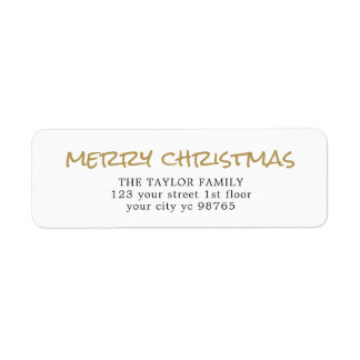 Simple Elegant Gold White Christmas Label