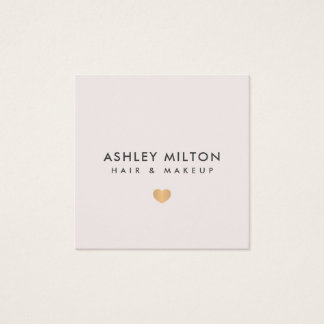 Simple Elegant Pastel Faux Gold Heart Beauty Square Business Card