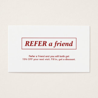 Simple Elegant Red White Refer a Friend Card