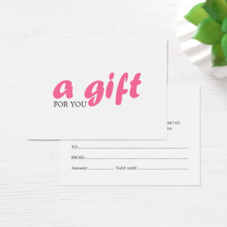 Simple Elegant White Pink Beauty Gift Certificate