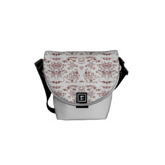 Simple Floral and Shapes on White Courier Bag