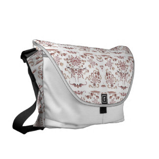 Simple Floral and Shapes on White Messenger Bag