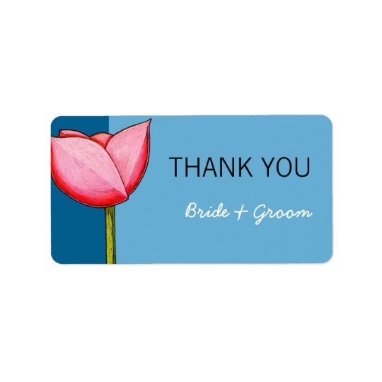 Simple Flowers blue Wedding Thank You Sticker
