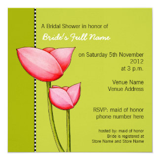 Simple Flowers green 1 Bridal Shower Invitation