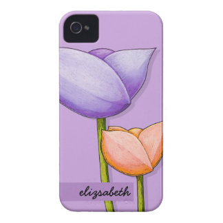 Simple Flowers purple orange 4/4S Barely There iPhone 4 Cases
