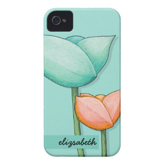 Simple Flowers teal orange 4/4S Barely There Case