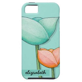 Simple Flowers teal orange iPhone 5 Tough Case Tough iPhone 5 Case