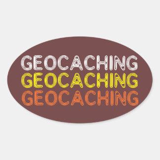 Simple Geocaching Wording Oval Sticker