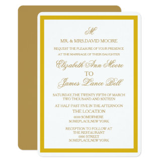 Simple Gold and White Wedding Invitation