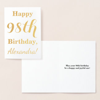 """Simple Gold Foil """"HAPPY 98th BIRTHDAY"""" + Name Foil Card"""