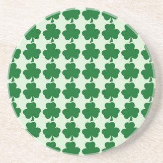 Simple Green Shamrock Pattern Sandstone Coaster