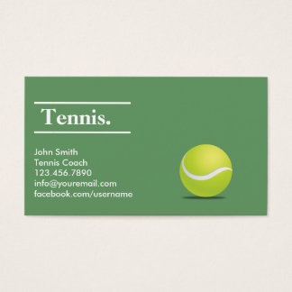Simple Green Tennis Coach Business Card
