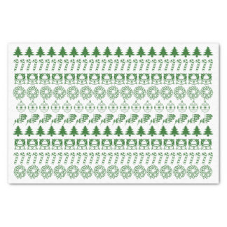 Simple Green/White Rows Christmas Font Art Pattern Tissue Paper