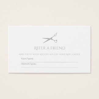 Simple Hair Stylist Scissors Modern Gray Referral Business Card