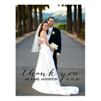 Wedding thank you cards invitations zazzle simple handwriting wedding thank you postcard junglespirit Image collections