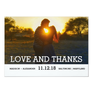 Simple Minimal Wedding Love And Thanks Photo 13 Cm X 18 Cm Invitation Card