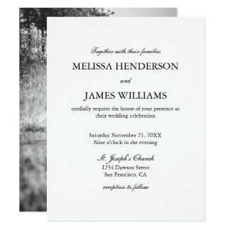 Simple Minimalist Photo Wedding Invitation
