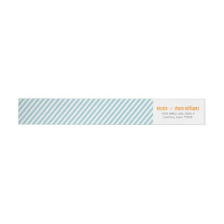 Simple Mint Green Pinstripes Wraparound Return Address Label