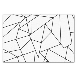 Simple Modern Black and White Geometric Pattern Tissue Paper