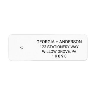 Simple Modern Black and White Heart Wedding Return Address Label