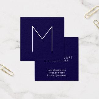 Simple Modern Minimalist Navy Blue Monogram Square Business Card
