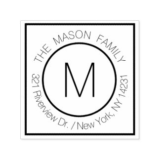 Simple Modern Monogram Name with Return Address Self-inking Stamp