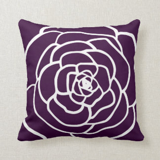 simple modern rose silhouette dark aubergine plum throw pillow