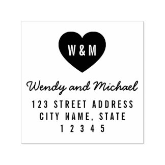 Simple Monogram Heart Couple Wedding Address Self-inking Stamp