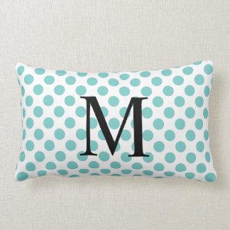 Simple Monogram with Aqua Polka Dots Lumbar Cushion