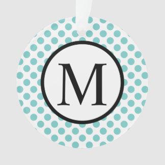 Simple Monogram with Aqua Polka Dots Ornament