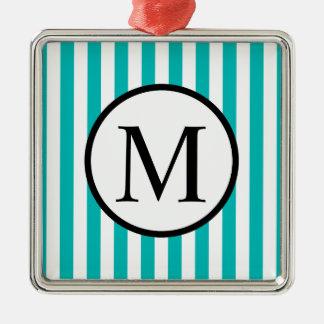 Simple Monogram with Aqua Vertical Stripes Christmas Ornament