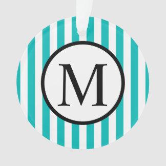 Simple Monogram with Aqua Vertical Stripes Ornament