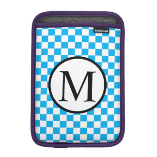 Simple Monogram with Blue Checkerboard iPad Mini Sleeve
