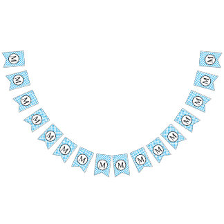Simple Monogram with Blue Polka Dots Bunting