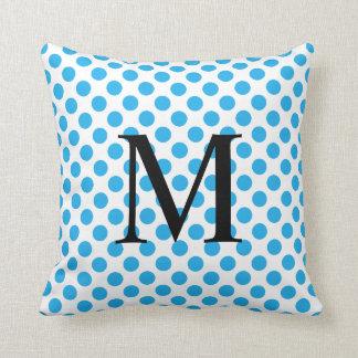 Simple Monogram with Blue Polka Dots Cushion