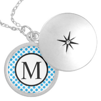Simple Monogram with Blue Polka Dots Silver Plated Necklace