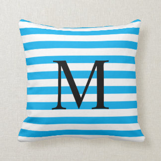 Simple Monogram with Horizontal Stripes Throw Pillow