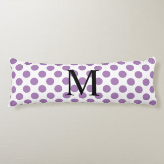 Simple Monogram with Lavender Polka Dots Body Cushion