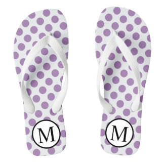 Simple Monogram with Lavender Polka Dots Jandals