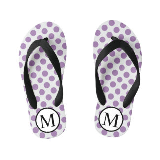 Simple Monogram with Lavender Polka Dots Kid's Jandals