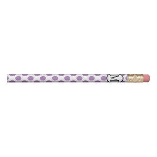 Simple Monogram with Lavender Polka Dots Pencil