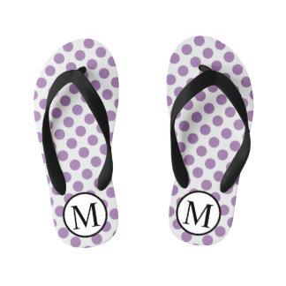 Simple Monogram with Lavender Polka Dots Thongs